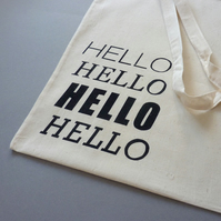 Hello screenprinted tote bag