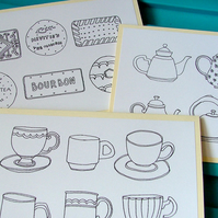Tea and Biscuits - pack of 3 note cards