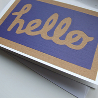 Hello - pack of 3 screenprinted note cards