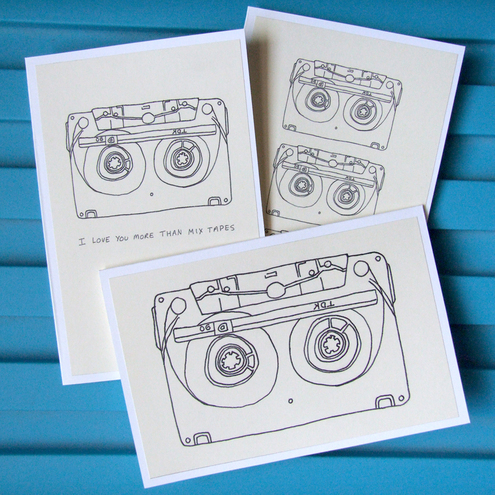 Cassettes - set of 3 greetings cards
