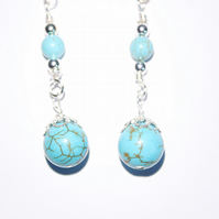 Turquoise and silver dangle earrings, Silver filigree wire wrapped drop earrings