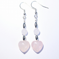 Rose quartz hearts and silver dangle earrings, Pastel pink and silver earrings