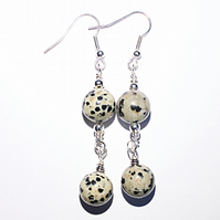 Dalmatian jasper beaded dangle earrings, Natural gemstone drop earrings