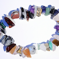 Mixed multicoloured gemstone chips elasticated bracelet, stacking bracelet
