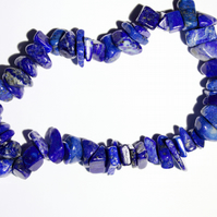 Lapis lazuli gemstone chips elasticated bracelet, deep blue stacking bracelet