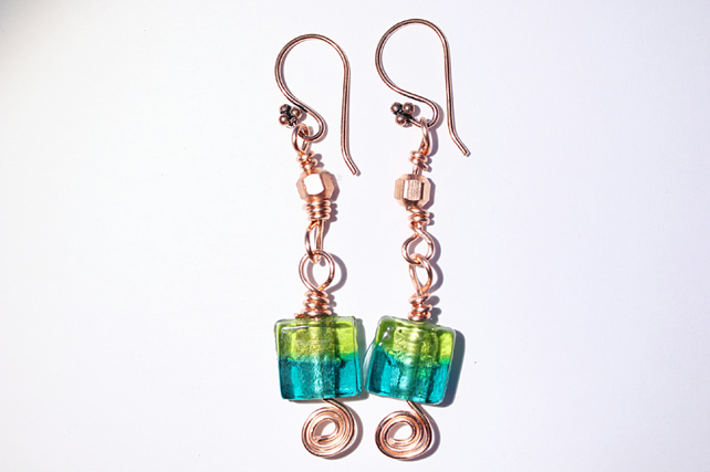 Two tone green glass bead and copper dangle earrings, Copper spiral jewellery