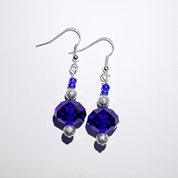 Dark blue faceted bead dangle earrings, blue and silver drop earrings