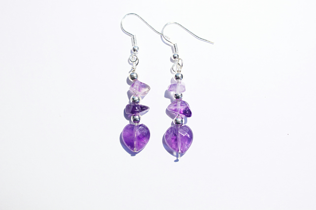 Purple amethyst heart dangle earrings, purple and silver gemstone chip earrings