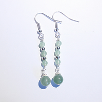 Pale green aventurine beaded dangle earrings, green and silver earrings