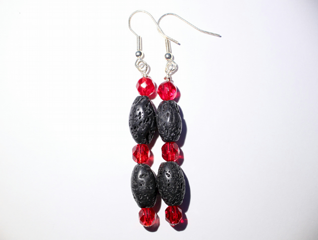 Long red and black dangle earrings, Black lava bead and faceted glass earrings