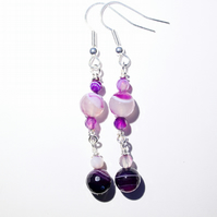 Purple banded agate faceted bead dangle earrings, Silver wire wrapped jewellery