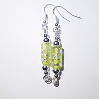 Lime green and silver cylinder glass bead dangle earrings