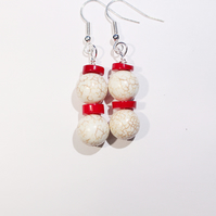 White howlite and red coral dangle earrings, Chunky gemstone earrings