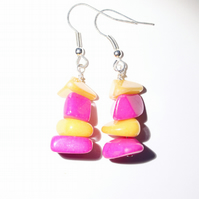 Bright pink and yellow dyed jade chunks dangle earrings, Vibrant jewellery