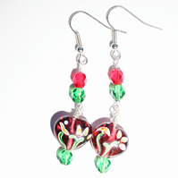 Red and green dangle earrings, Heart earrings,Glass bead earrings