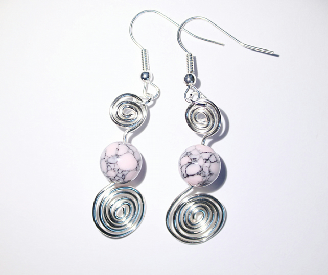 Pink howlite and silver spiral dangle earrings