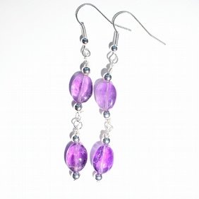 Oval purple amethyst dangle earrings, Silver and purple earrings