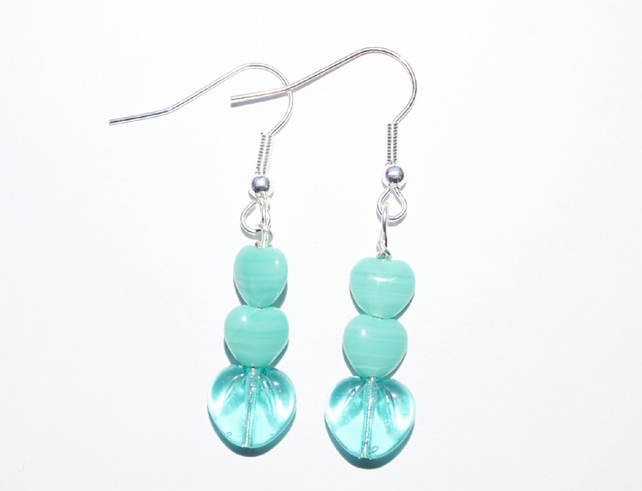 Aqua green heart dangle earrings, Translucent and opaque green heart earrings