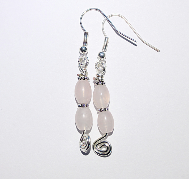 Rose quartz and silver dangle earrings, Pastel pink and silver spirals earrings