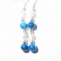 Blue banded agate and silver bead dangle earrings