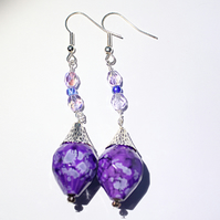Purple and blue beaded dangle earrings, Statement earrings