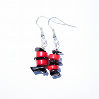 Red coral and black agate chunks dangle earrings, Bright and bold jewellery