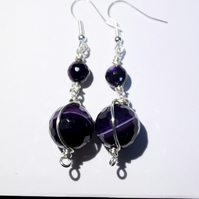 Purple banded agate and silver wire wrapped dangle earrings
