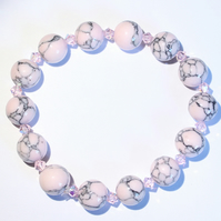 Pale pink howlite and crystal bracelet , elasticated bracelet, stacking bracelet