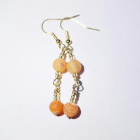 Orange frosted agate beaded dangle earrings,Cracked agate earrings