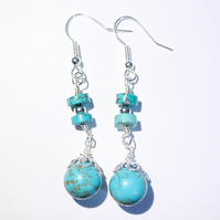 Turquoise and silver fantasy dangle earrings