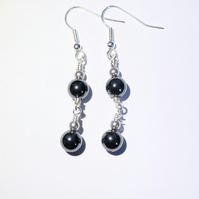 Hematite and silver dangle earrings, Haematite earrings