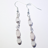 Pale pink rose quartz and silver dangle earrings
