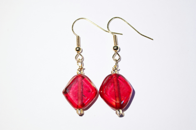 Square red glass foiled bead dangle earrings