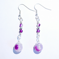 Purple agate and silver filigree wire wrapped dangle earrings