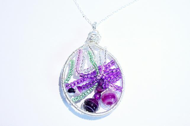 Purple green and silver agate and seed bead wire wrapped pendant with chain