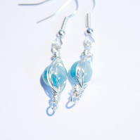 Blue and silver herringbone dangle earrings