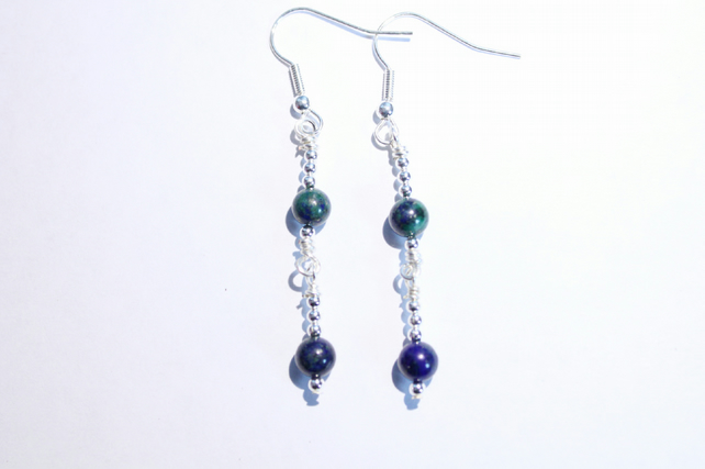 Blue and green chrysocolla gemstone beaded dangle earrings