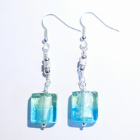 Mint green and clear blue modern dangle earrings