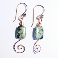 Green and black African turquoise and copper spiral dangle earrings