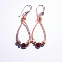 Red tiger eye and copper beaded oval copper hoop earrings