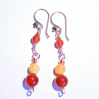 Tawny orange carnelian, cracked agate and copper dangle earrings