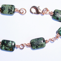 Green and black african turquoise and copper wire wrap bracelet
