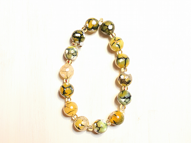 Green dragon vein agate and gold bead stacking bracelet