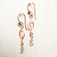 Copper and aventurine swirly loop dangle earrings