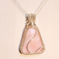 Pink opal and silver wire wrapped pendant with sterling silver chain