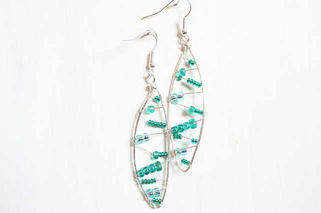 Leaf shaped silver wire wrapped drop earrings with green, blue and teal beads