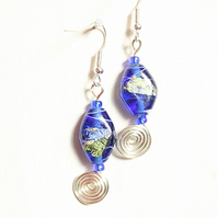 Blue and green lampwork  bead dangle earrings with silver spiral