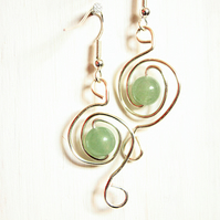 Pale green aventurine and silver spiral dangle earrings