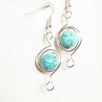 Dyed howlite and silver spiral dangle earrings