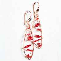 Christmas copper leaf shaped wire wrapped drop earrings with red seed beads